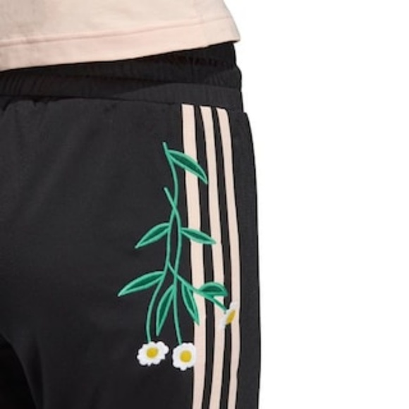 Floral Embroidered Love Revolution Adidas pants